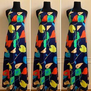 Vintage 70s Multi Color Maxi Halter Dress